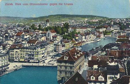 zürich vom grossmünster aus gesehen - 1916